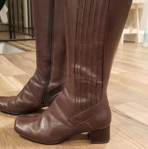 Clarks Brown Leather Knee High Boots Size 6.5